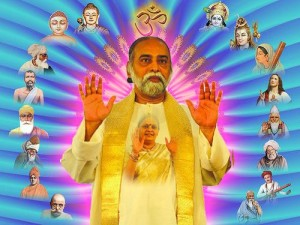 Sri Bhagavan omgeven door Goddelijke wezens die meehelpen de Oneness-visie te realiseren.